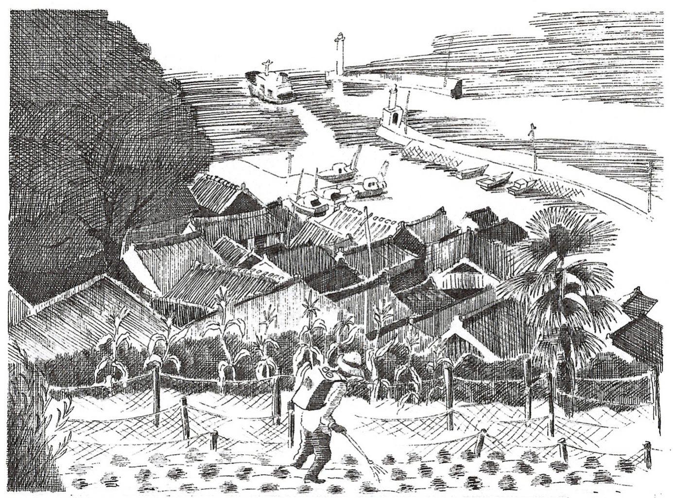 倉掛氏が描いた男木島の風景